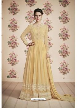Khaki Heavy Embroidered Designer Real Georgette Anarkali Suit