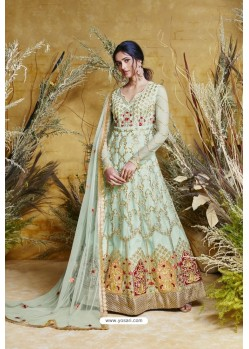 Sea Green Heavy Embroidered Heavy Butterfly Net Designer Anarkali Suit