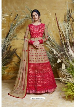 Red Heavy Embroidered Heavy Butterfly Net Designer Anarkali Suit