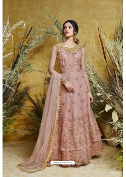 Dusty Pink Heavy Embroidered Heavy Butterfly Net Designer Anarkali Suit