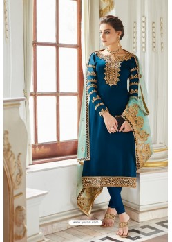Dark Blue Embroidered Satin Georgette Churidar Salwar Suit