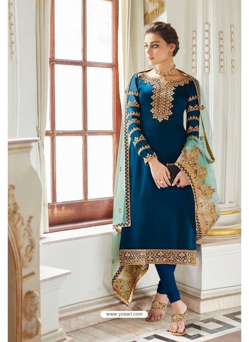 Dark Blue Embroidered Satin Georgette Churidar Salwar Suit