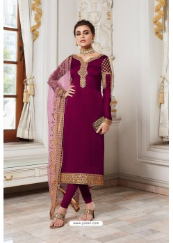 Deep Wine Embroidered Satin Georgette Churidar Salwar Suit