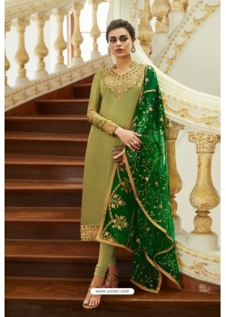Green Embroidered Satin Georgette Churidar Salwar Suit