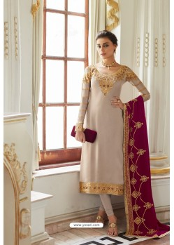 Light Beige Embroidered Satin Georgette Churidar Salwar Suit