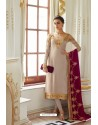Light Beige Embroidered Satin Georgette Churidar Salwar Suit