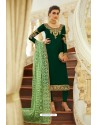 Dark Green Embroidered Satin Georgette Churidar Salwar Suit