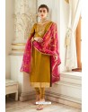 Mustard Embroidered Satin Georgette Churidar Salwar Suit