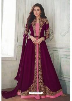 Medium Violet Designer Heavy Embroidered Georgette Anarkali Suit