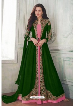 Forest Green Designer Heavy Embroidered Georgette Anarkali Suit