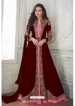 Maroon Designer Heavy Embroidered Georgette Anarkali Suit