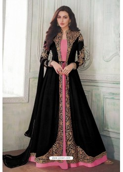 Black Designer Heavy Embroidered Georgette Anarkali Suit