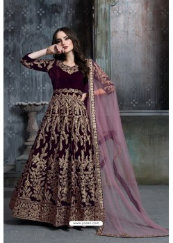 Deep Wine Heavy Embroidered Designer Party Wear Velvet Anarkali Suit