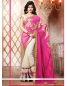 Off White And Magenta Chiffon Resham Designer Saree