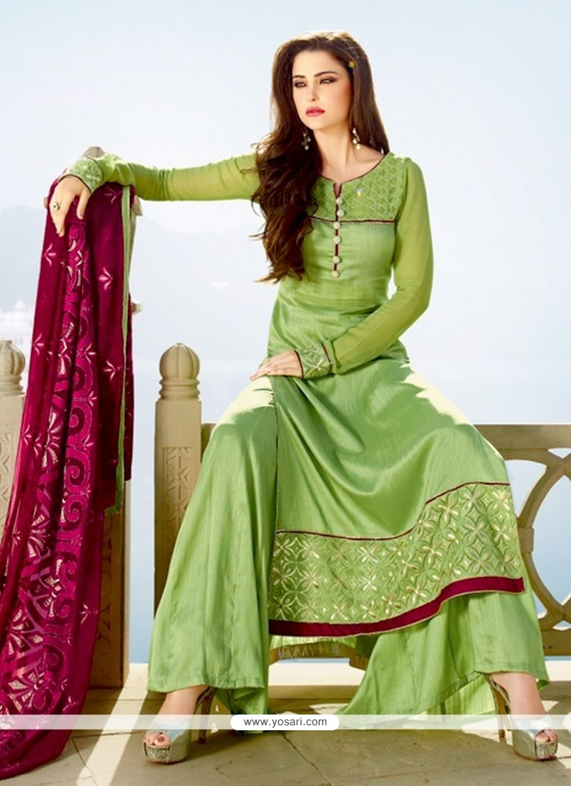 Fetching Tussar Silk Embroidered Work Designer Palazzo Suit