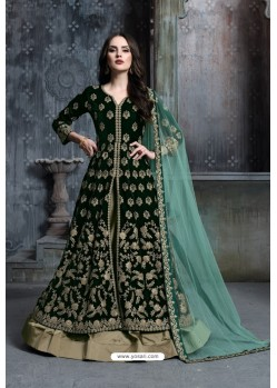 Dark Green Heavy Embroidered Designer Party Wear Velvet Anarkali Suit