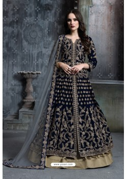 Navy Blue Heavy Embroidered Designer Party Wear Velvet Anarkali Suit