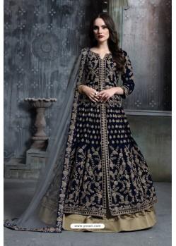 Navy Blue Heavy Embroidered Designer Party Wear Velvet Anarkali Suit