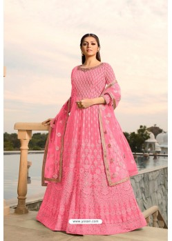 Hot Pink Designer Heavy Embroidered Georgette Anarkali Suit