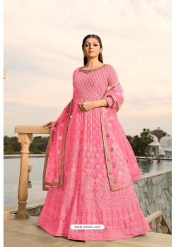 Hot Pink Designer Heavy Embroidered Georgette Anarkali Suit
