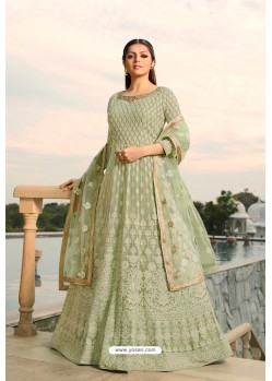 Olive Green Designer Heavy Embroidered Georgette Anarkali Suit