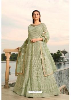 Olive Green Designer Heavy Embroidered Georgette Anarkali Suit