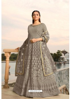 Grey Designer Heavy Embroidered Georgette Anarkali Suit