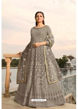 Grey Designer Heavy Embroidered Georgette Anarkali Suit