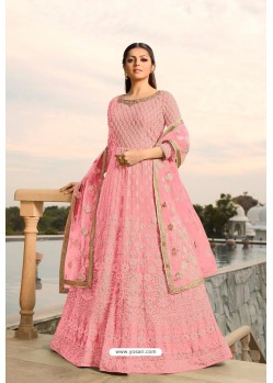 Pink Designer Heavy Embroidered Georgette Anarkali Suit