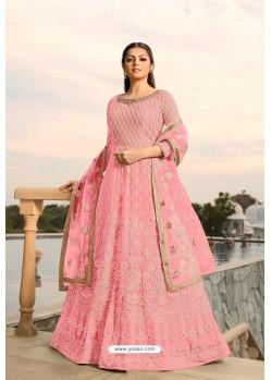 Pink Designer Heavy Embroidered Georgette Anarkali Suit