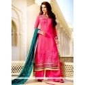 Groovy Georgette Hot Pink Resham Work Designer Palazzo Salwar Kameez