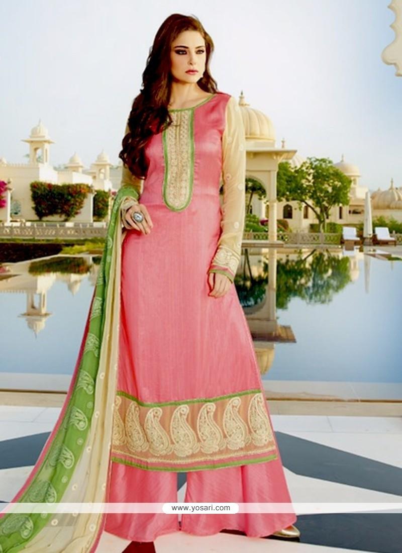 Charming Tussar Silk Pink Designer Palazzo Salwar Suit
