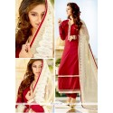 Picturesque Resham Work Tussar Silk Maroon Churidar Designer Suit