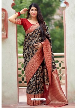 Carbon Designer Party Wear Banarasi Silk Sari