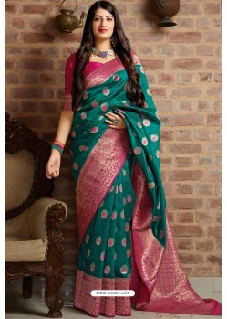 Teal Designer Party Wear Banarasi Silk Sari