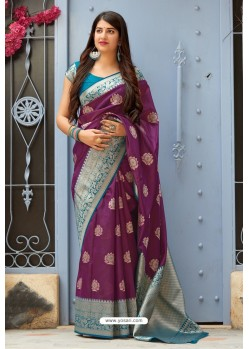 Purple Designer Party Wear Banarasi Silk Sari