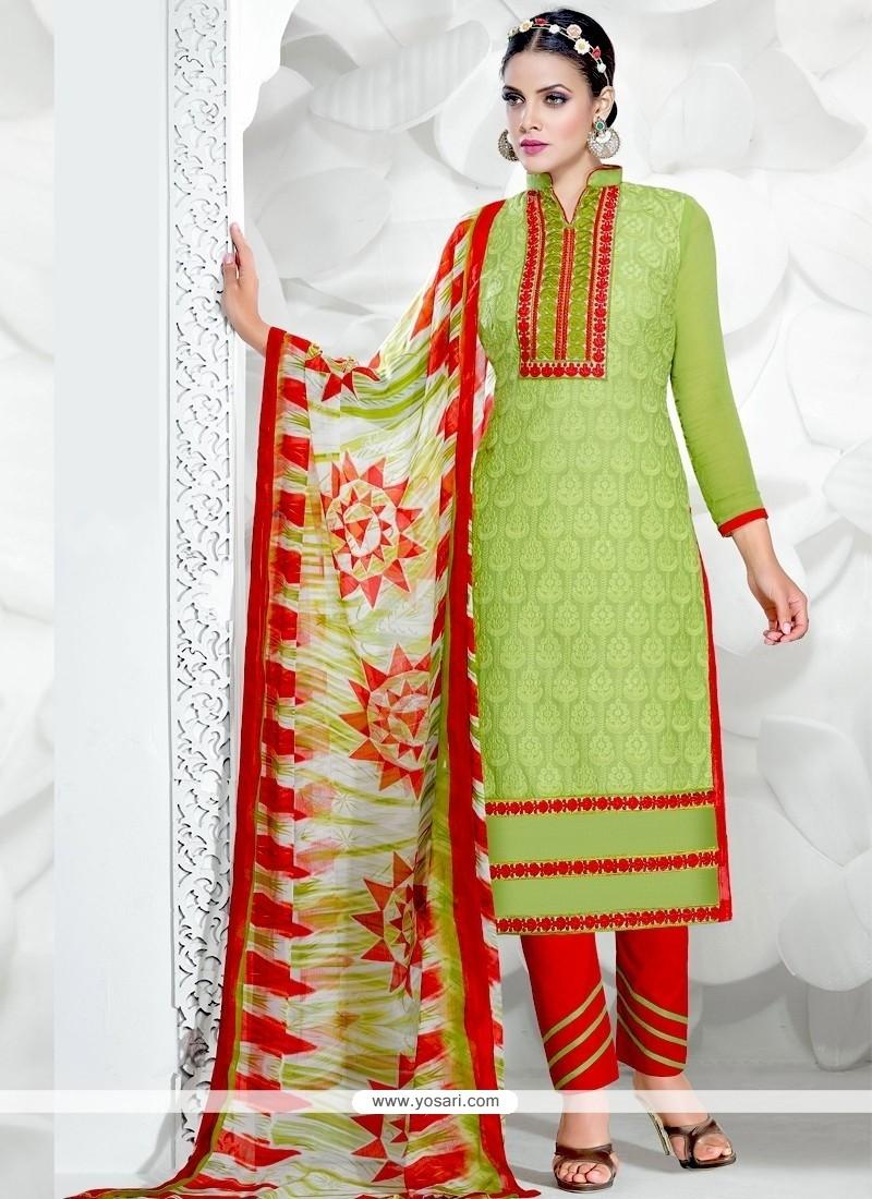 Distinctively Green Resham Work Salwar Suit