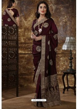 Deep Scarlet Party Wear Heavy Embroidered Silk Sari