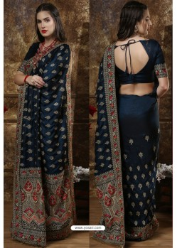 Peacock Blue Party Wear Heavy Embroidered Silk Sari