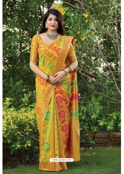 Yellow Party Wear Printed Banarasi Silk Sari