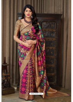 Multi Colour Party Wear Printed Banarasi Silk Sari