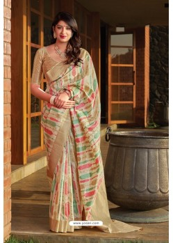 Light Beige Party Wear Printed Banarasi Silk Sari