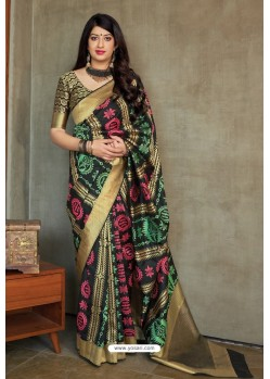 Carbon Party Wear Printed Banarasi Silk Sari