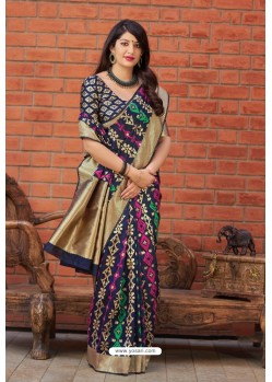 Navy Blue Party Wear Printed Banarasi Silk Sari