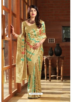 Gold Party Wear Printed Banarasi Silk Sari