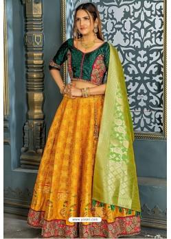 Mustard Heavy Embroidered Banarasi Silk Party Wear Lehenga Choli