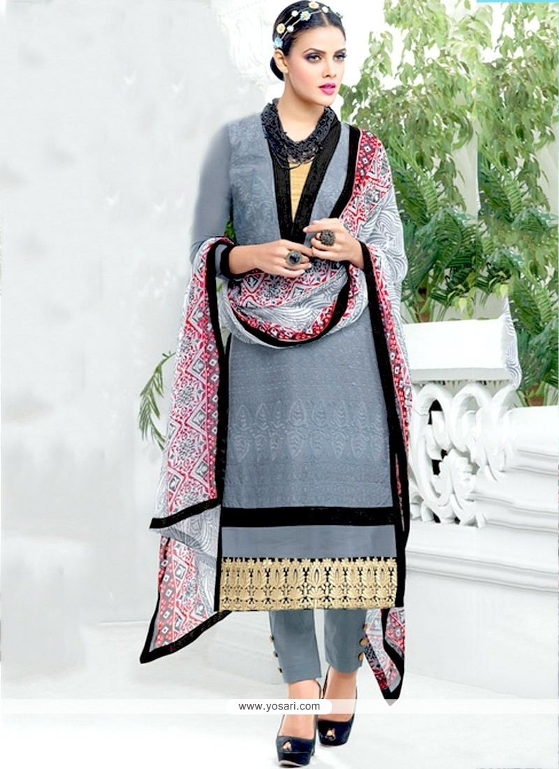 Delightful Grey Zari Work Salwar Suit