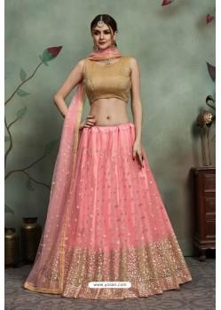 Pink Heavy Embroidered Soft Net Wedding Lehenga Choli