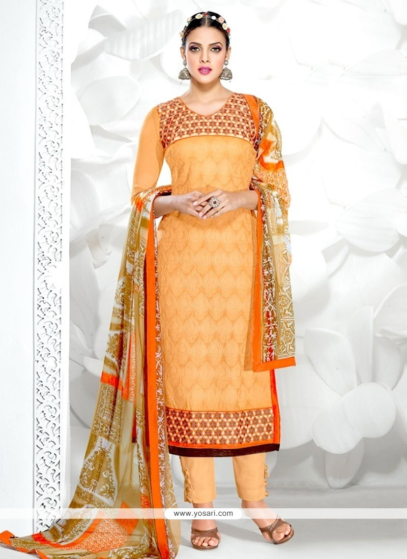 Peach Cotton Designer Salwar Kameez