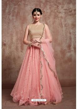Peach Heavy Embroidered Soft Net Wedding Lehenga Choli